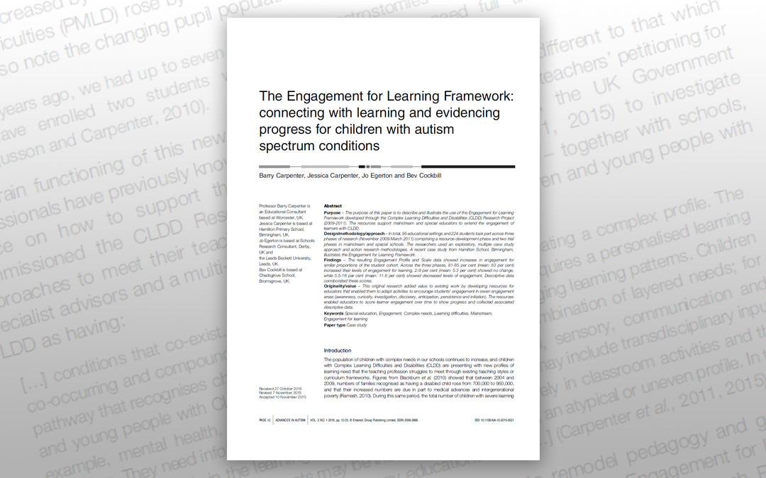 The Engagement for Learning Framework: connecting with learning and evidencing progress for children with autism spectrum conditions