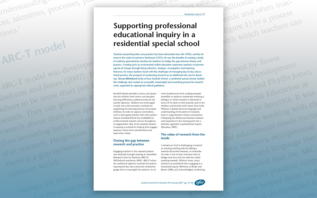 Supporting professional educational inquiry in a residential special school