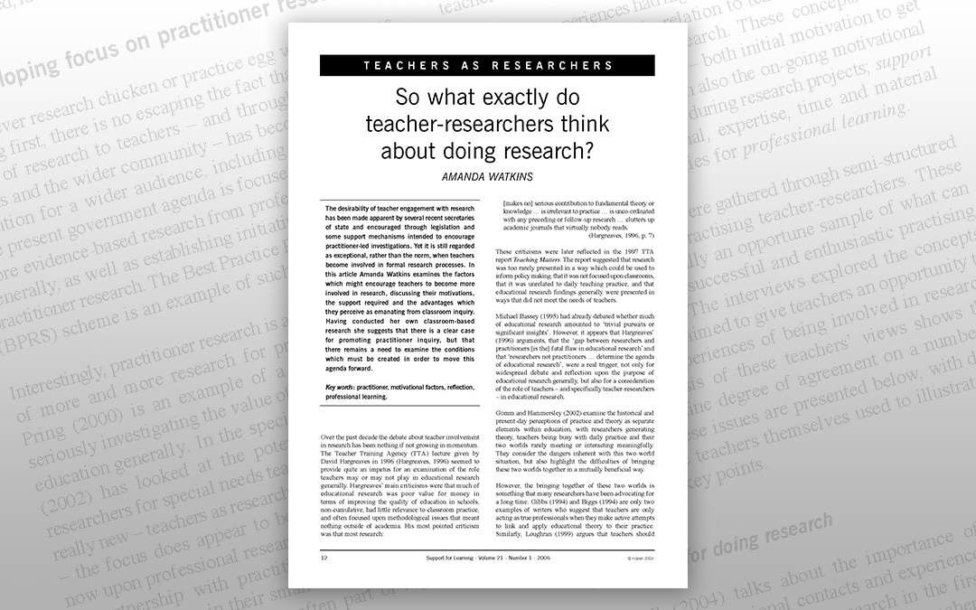 So what exactly do teacher-researchers think about doing research?