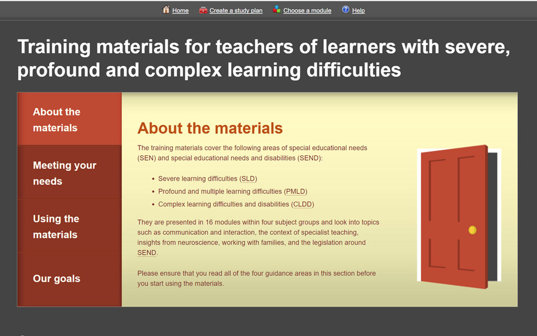 Training materials for teachers of learners with severe, profound and complex learning difficulties
